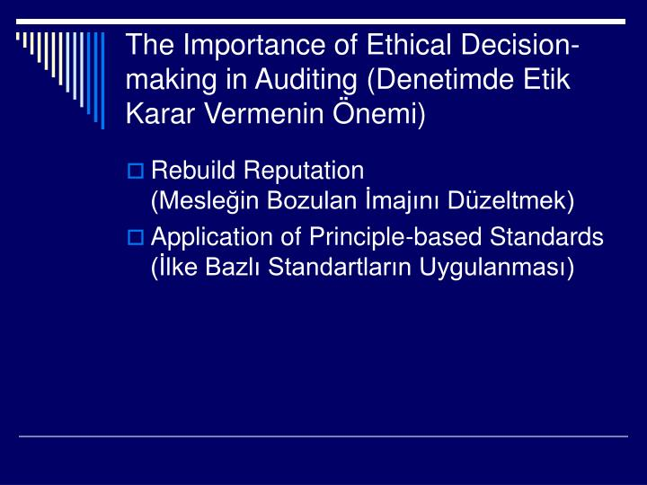 the importance of etical decisions in Who are the individuals developing ethical marketing plans and learn how you the importance of acting in honestly during all marketing decisions.