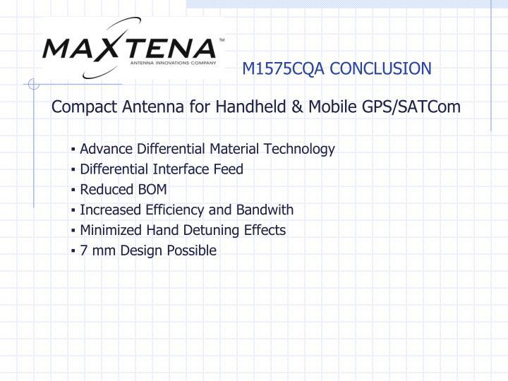 M1575CQA CONCLUSION