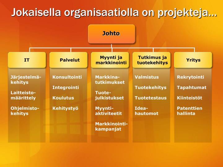 Jokaisella organisaatiolla on projekteja