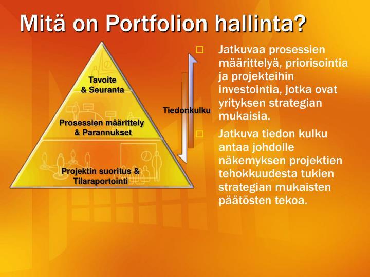 Mitä on Portfolion hallinta?