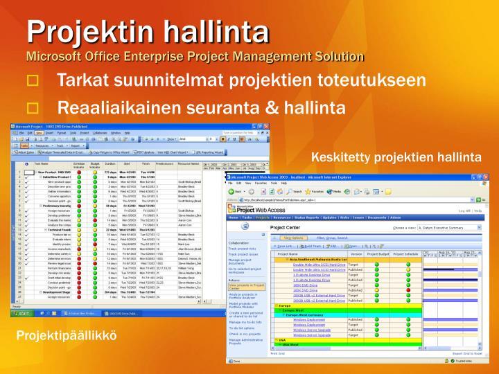 Keskitetty projektien hallinta