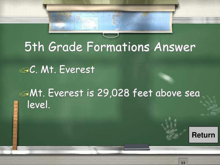 5th Grade Formations Answer