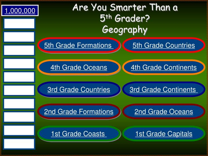 Are you smarter than a 5 th grader geography1