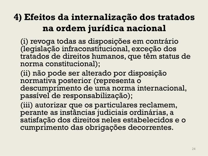 4) Efeitos da internalização dos tratados na ordem jurídica nacional
