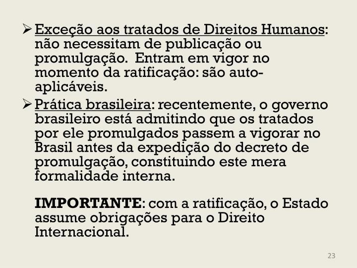 Exceção aos tratados de Direitos Humanos
