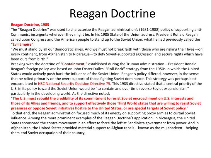 the reagan doctrine Six questions for the reagan doctrine the next battlefield over the so-called  regan doctrine is the decade-old consensus that america.