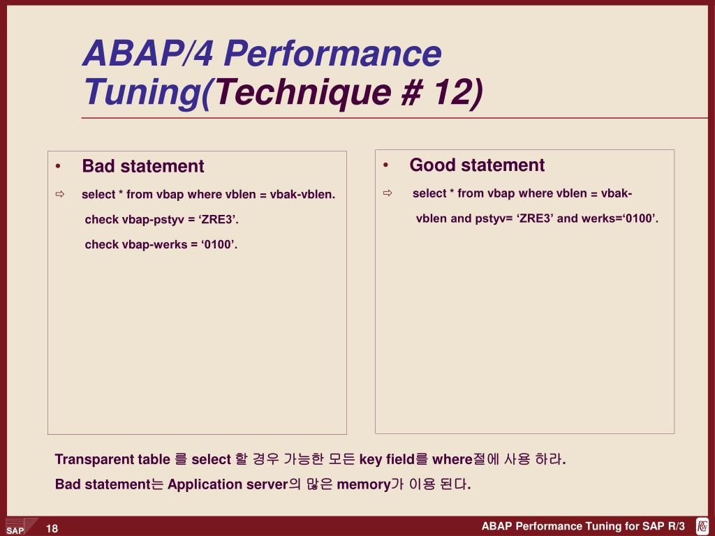 PPT - ABAP Performance Tuning PowerPoint Presentation - ID:4013886