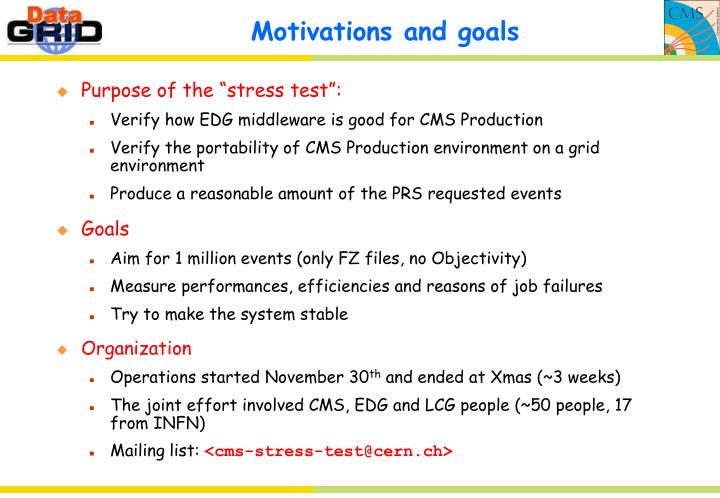 Motivations and goals