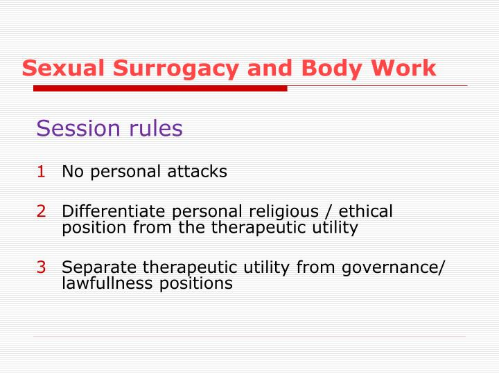 Sexual surrogacy and body work1