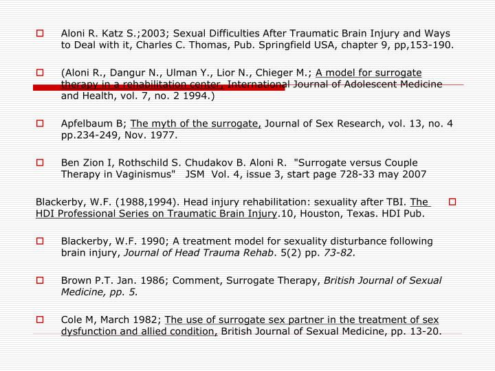 Aloni R. Katz S.;2003; Sexual Difficulties After Traumatic Brain Injury and Ways to Deal with it, Charles C. Thomas, Pub. Springfield USA, chapter 9, pp,153-190.