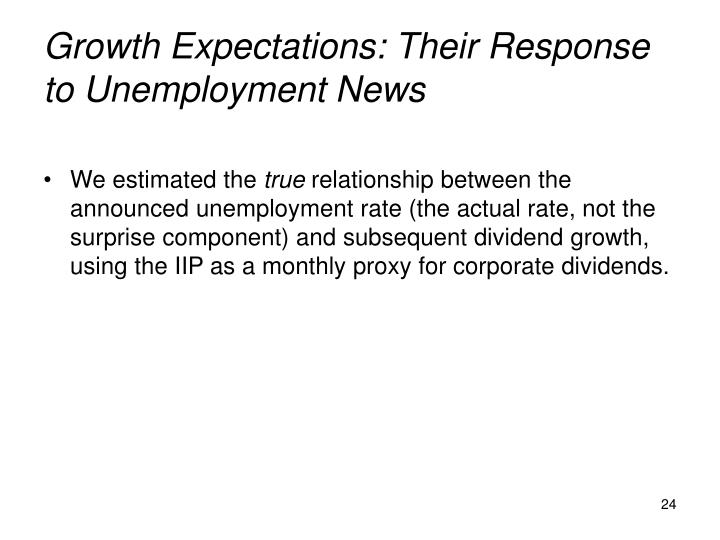 Growth Expectations: Their Response to Unemployment News