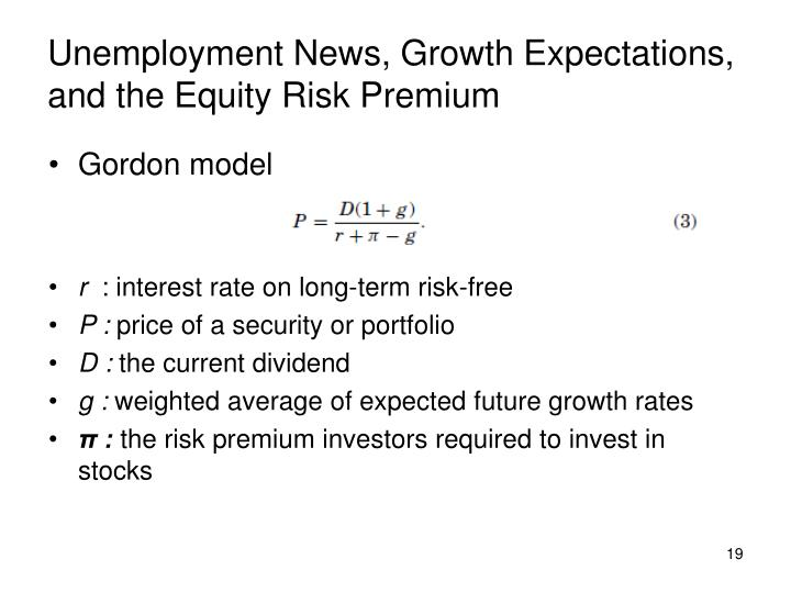 Unemployment News, Growth Expectations, and the Equity Risk Premium
