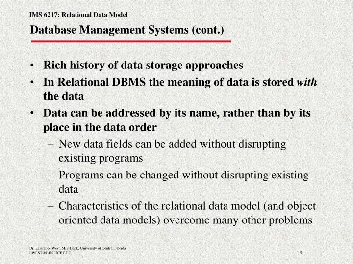 Database Management Systems (cont.)