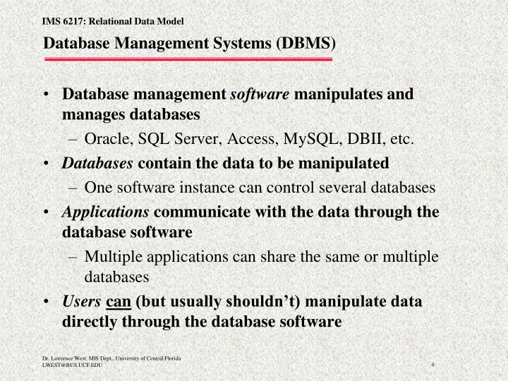 Database Management Systems (DBMS)