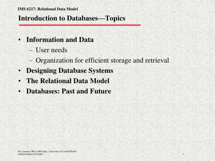 Introduction to databases topics