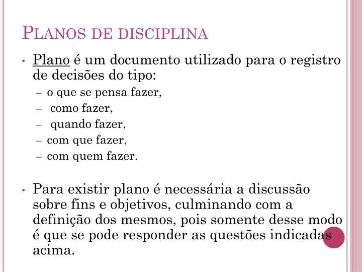 Planos de disciplina