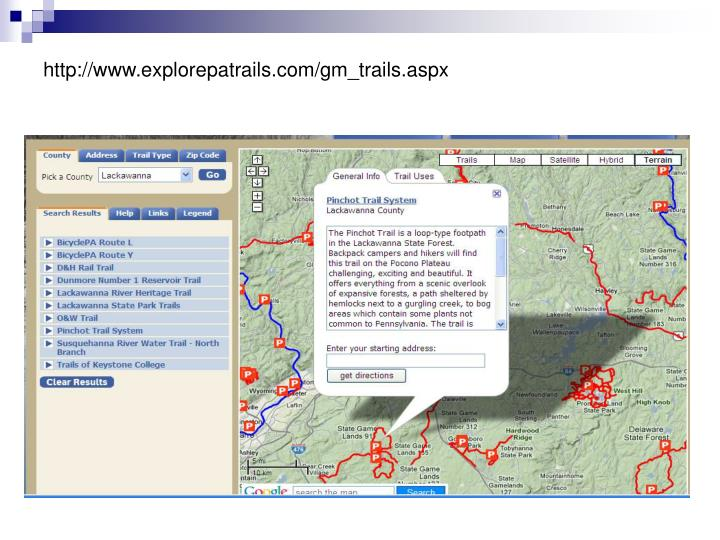 http://www.explorepatrails.com/gm_trails.aspx