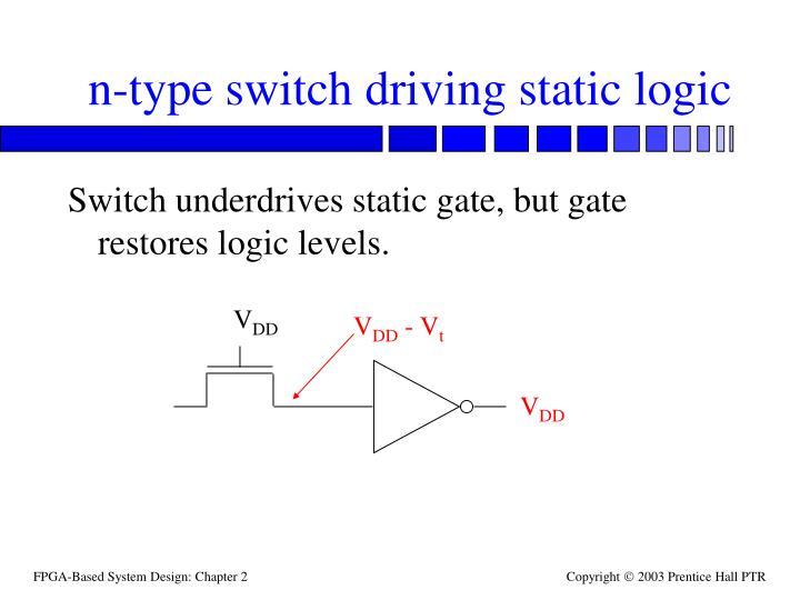 n-type switch driving static logic