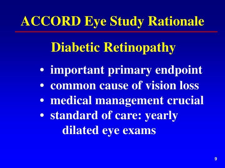 ACCORD Eye Study Rationale