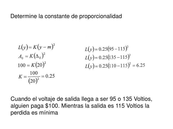 Determine la constante de proporcionalidad
