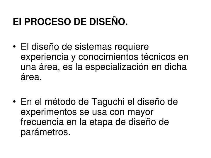 El PROCESO DE DISEÑO.
