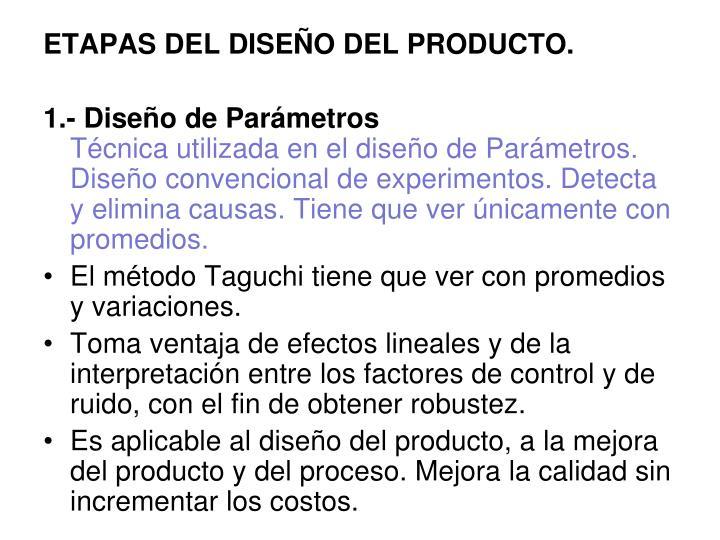ETAPAS DEL DISEÑO DEL PRODUCTO.