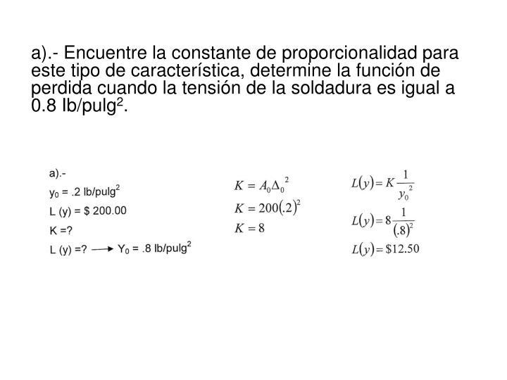 a).- Encuentre la constante de proporcionalidad para este tipo de característica, determine la función de perdida cuando la tensión de la soldadura es igual a 0.8 Ib/pulg