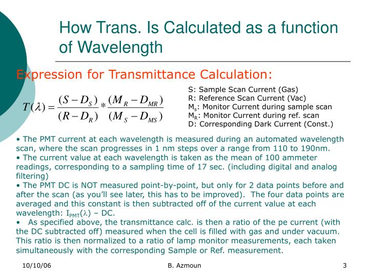 How trans is calculated as a function of wavelength