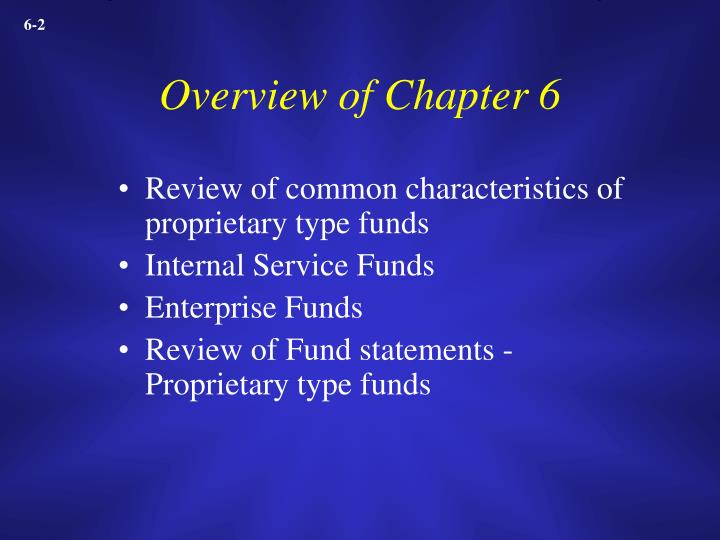 Overview of chapter 6