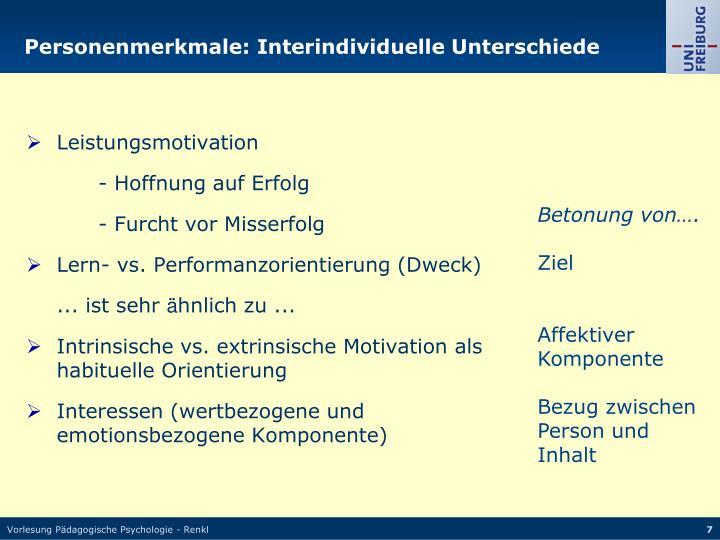 Personenmerkmale: Interindividuelle Unterschiede