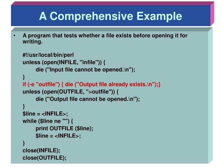 A Comprehensive Example