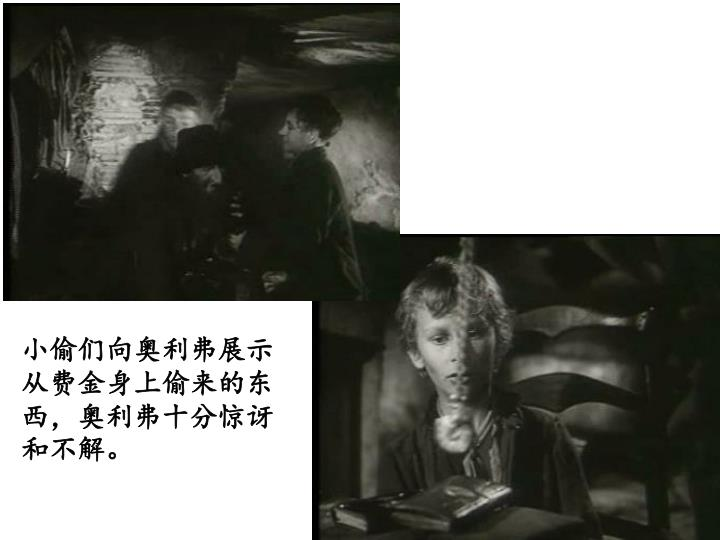 小偷们向奥利弗展示从费金身上偷来的东西,奥利弗十分惊讶和不解。