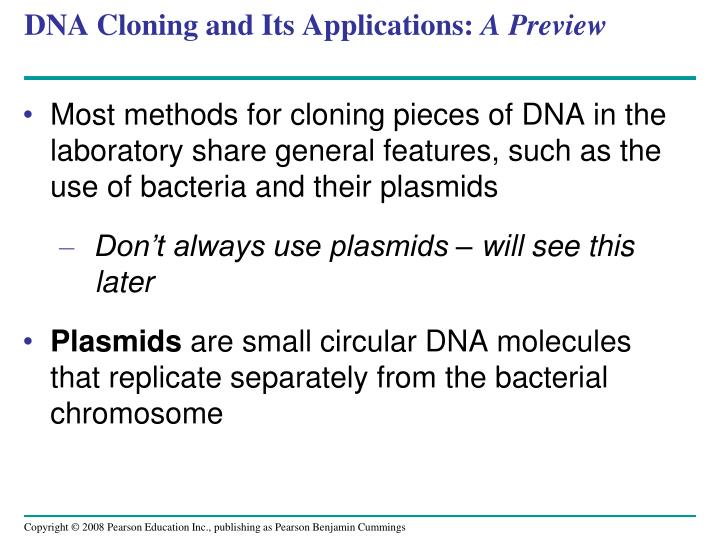 DNA Cloning and Its Applications: