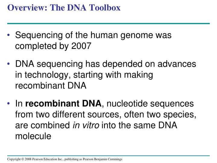 Overview the dna toolbox