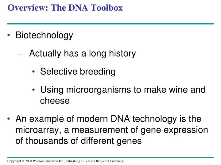 Overview: The DNA Toolbox