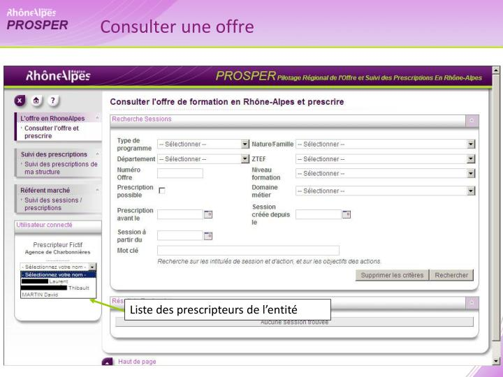 Consulter une offre