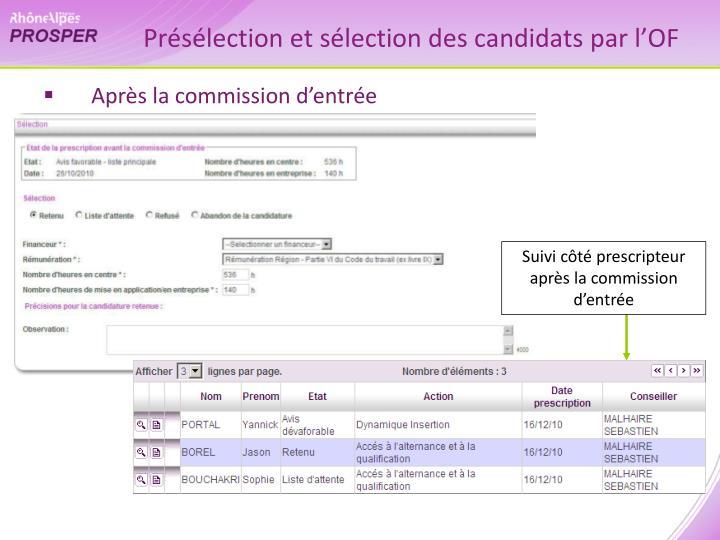 Présélection et sélection des candidats par l'OF