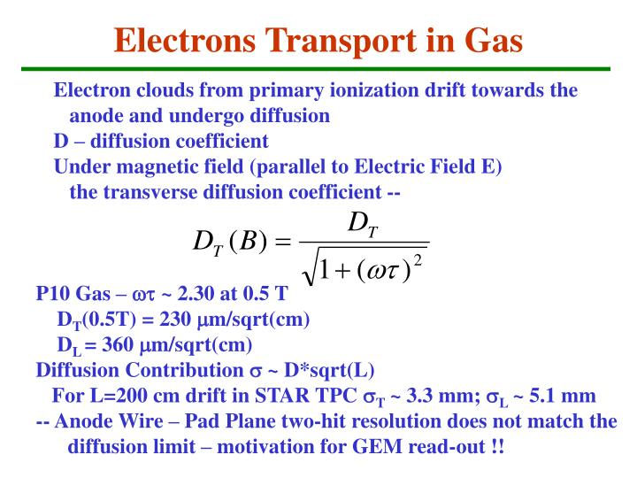 Electrons Transport in Gas