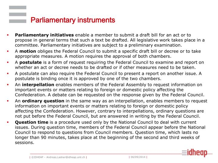 Parliamentary instruments