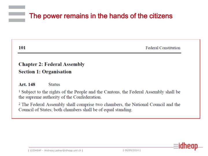 The power remains in the hands of the citizens