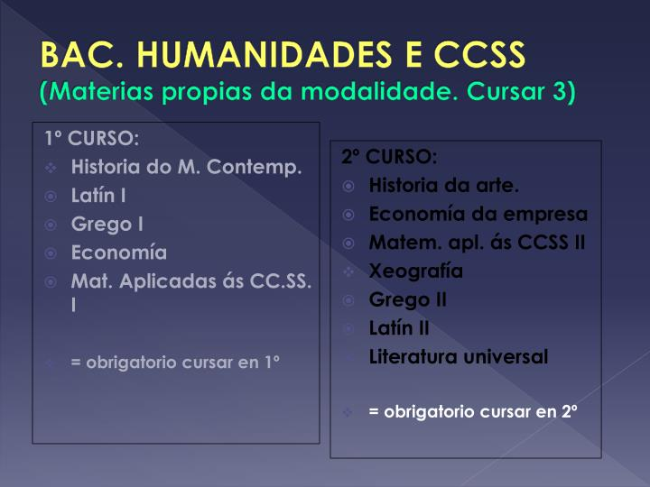 BAC. HUMANIDADES E CCSS
