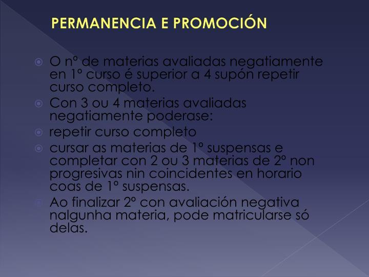 PERMANENCIA E PROMOCIÓN