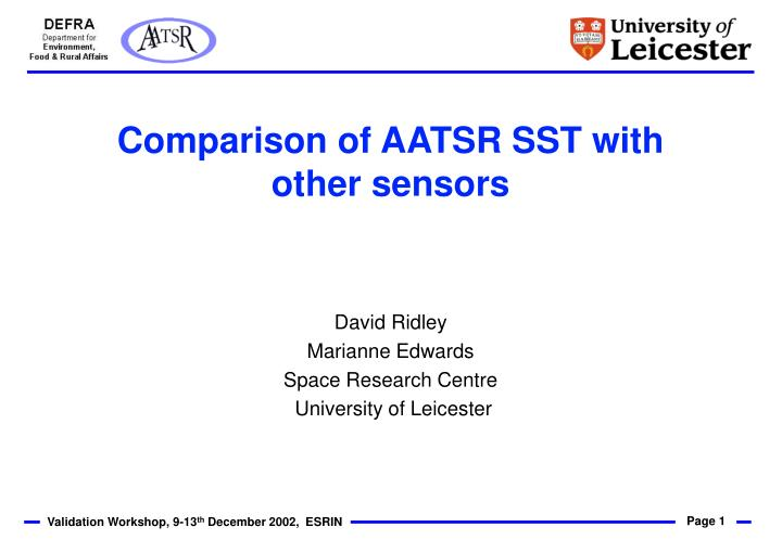 comparison of aatsr sst with other sensors n.