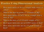 practice using dimensional analysis