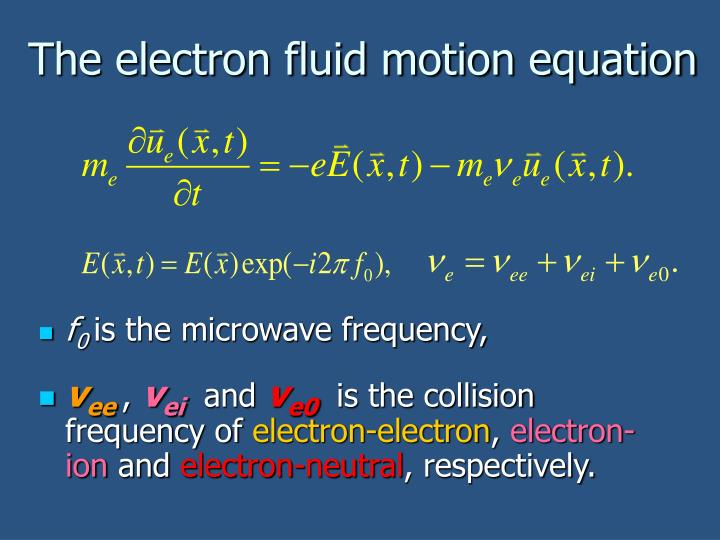 The electron fluid motion equation