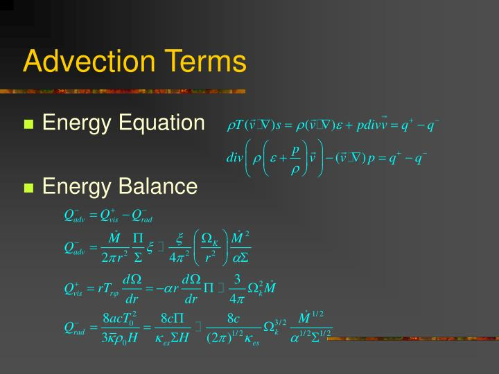 Advection Terms