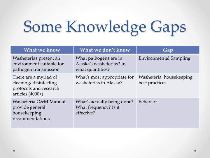 Some Knowledge Gaps