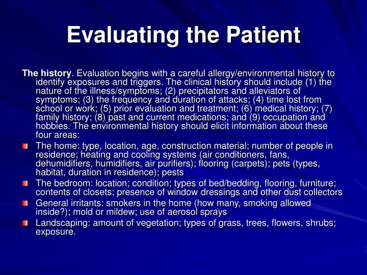Evaluating the Patient