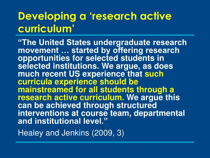 Developing a 'research active curriculum'