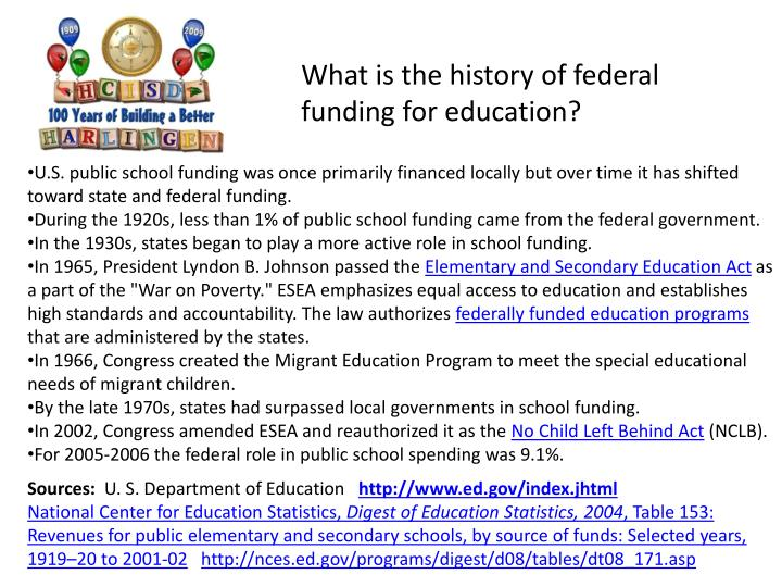 What is the history of federal funding for education?